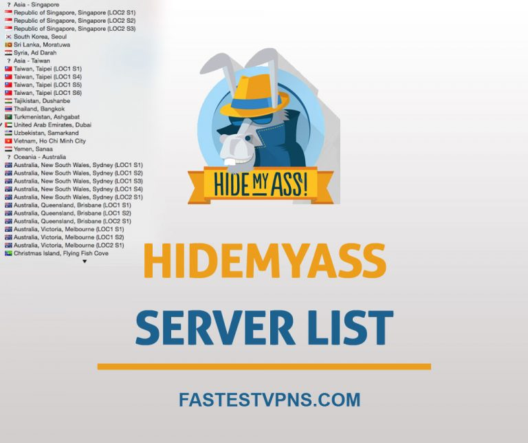 HideMyAss Server List