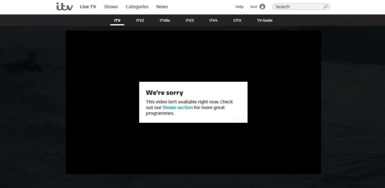 """Were sorry, this video isn't available right now."" - Watch ITV Hub in Spain"