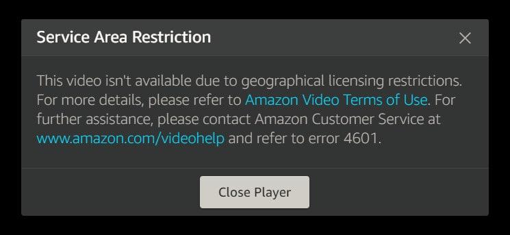 service area restriction amazon prime