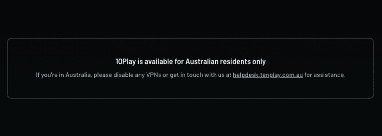 10Play is available for Australian residents only